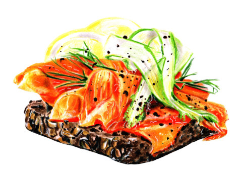 Tasty Danish sandwich smorrebrod with sa...
