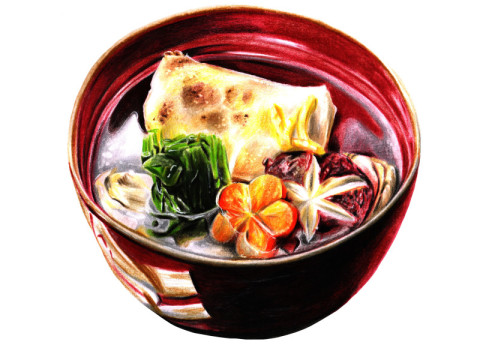 Japanese Dzoni with rise cake, vegetable...